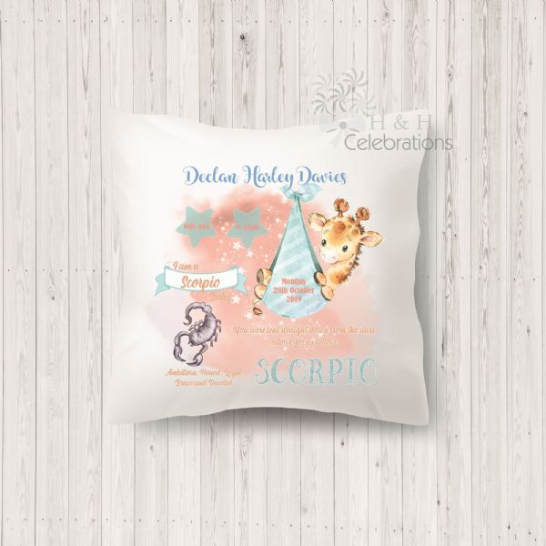 Scorpio - Baby Star Sign Keepsake Cushion